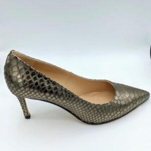 Bronze croco leather heel